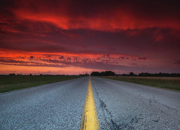 Wall Art - Photograph - Yellow Line Sunset by Cale Best