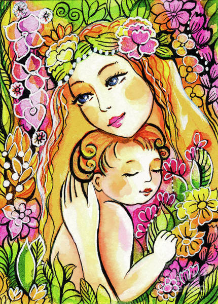 Painting - Yellow Madonna With Child by Eva Campbell