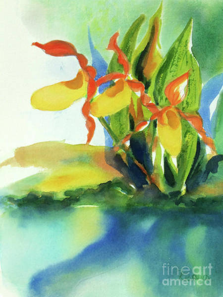 Wall Art - Painting - Yellow Moccasin Flowers by Kathy Braud