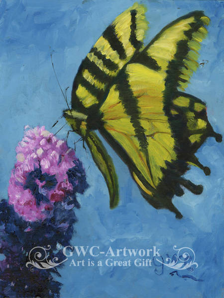 Wall Art - Painting - Yellow Monarch Butterfly And Bush by Gloria Condon