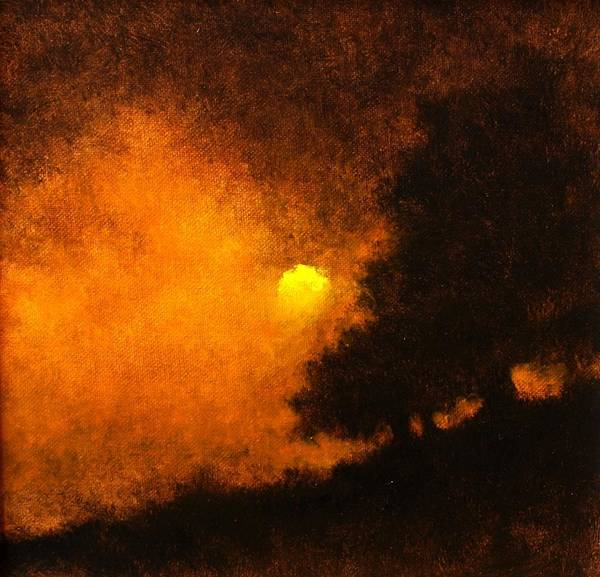 Stream Wall Art - Painting - Yellow Moon by Jim Gola