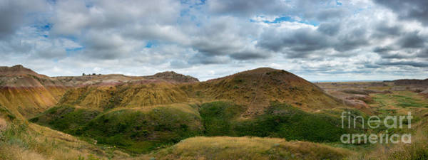 Mound Photograph - Yellow Mounds At Badlands Panorama by Michael Ver Sprill