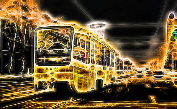 Photograph - Yellow Neon Trolley Bus In The City by John Williams