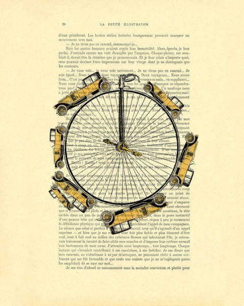 Oldtimer Wall Art - Digital Art - Yellow Oldtimers On A Bicycle Wheel Antique Illustration On Book Page by Madame Memento