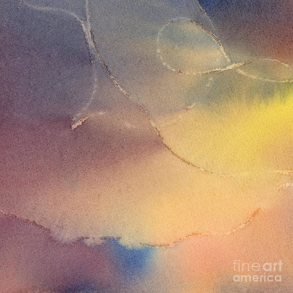 Abstract Painting - Yellow Orange Blue Watercolor Square Design 3 by Sharon Freeman