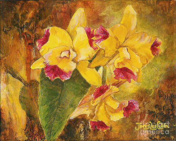Painting - Yellow Orchids Acrylic by Janis Lee Colon