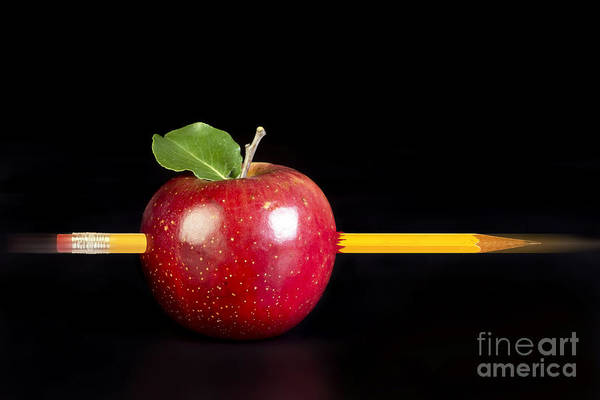 Pokes Wall Art - Photograph - Yellow Pencil And Apple. by W Scott McGill