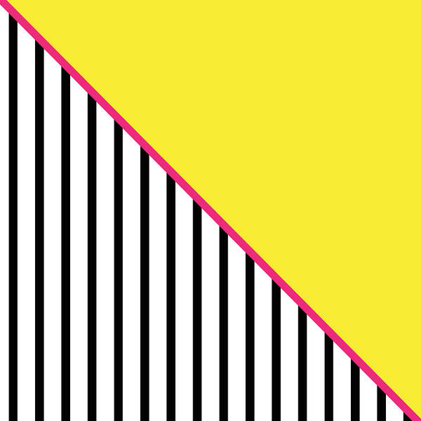 Triangle Digital Art - Yellow Pink And Black Geometric by Linda Woods