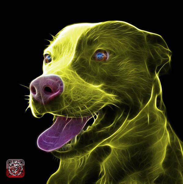 Mixed Media - Yellow Pit Bull Fractal Pop Art - 7773 - F - Bb by James Ahn