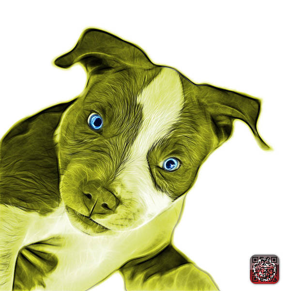 Painting - Yellow Pitbull Dog Art 7435 - Wb by James Ahn