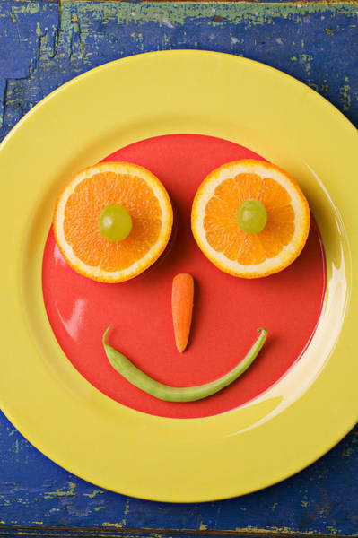 Foodstuff Photograph - Yellow Plate With Food Face by Garry Gay