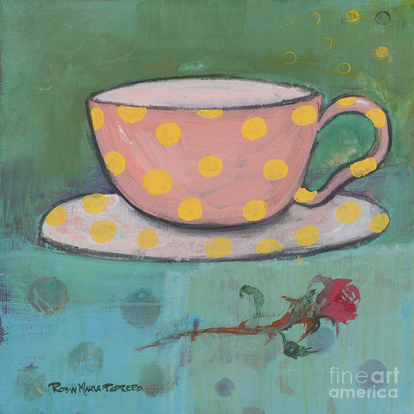 Painting - Yellow Polka Dotted Pink Cup by Robin Maria Pedrero