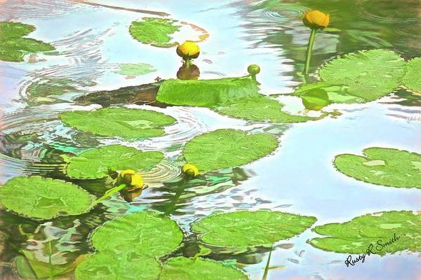 Digital Art - Yellow Pond Lilies In Spring. by Rusty R Smith