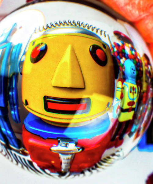 Wall Art - Photograph - Yellow Robot In Crystal Ball by Garry Gay