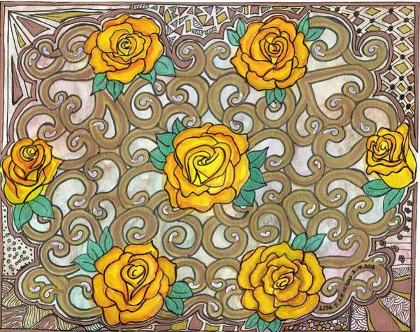 Doily Painting - Yellow Rose Doily by Lisa Hinshaw