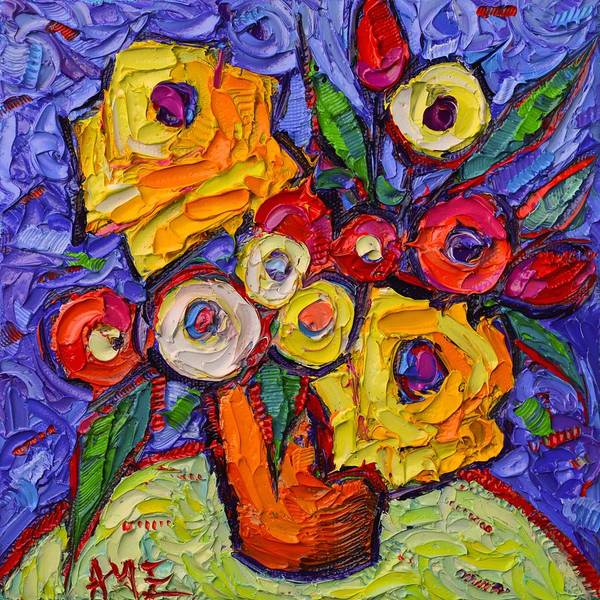 Painting - Yellow Roses And Wildflowers Abstract Impressionist Impasto Knife Oil Painting By Ana Maria Edulescu by Ana Maria Edulescu