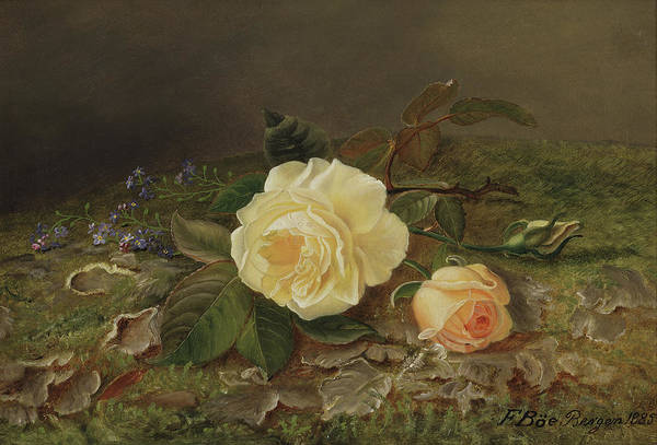 Perennial Painting - Yellow Roses by Frants Diderik Boe