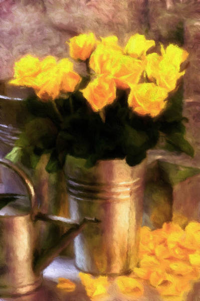 Mixed Media - Yellow Roses Impressionism by Isabella Howard