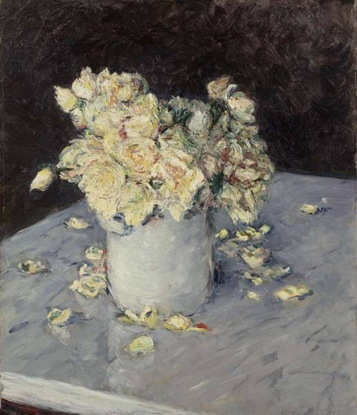 Painting - Yellow Roses In A Vase, 1882 - Gustave Caillebotte by Artistic Panda