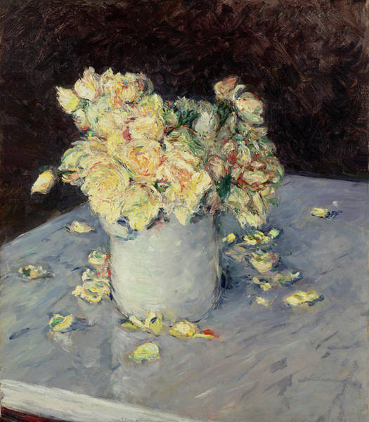 Painting - Yellow Roses In A Vase By Gustave Caillebotte 1882 by Movie Poster Prints