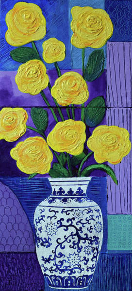 Amaryllis Painting - Yellow Roses In Vase by Stephen Humphries