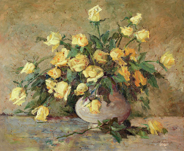Rosaceae Wall Art - Painting - Yellow Roses by Jeannette Agnew Lyon