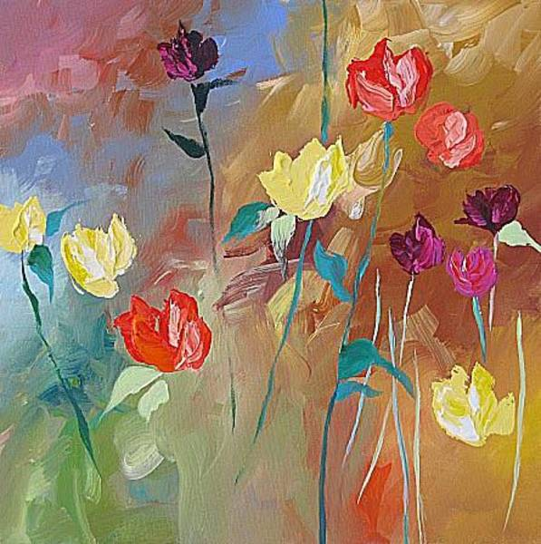 Fauve Painting - Yellow Roses by Linda Monfort