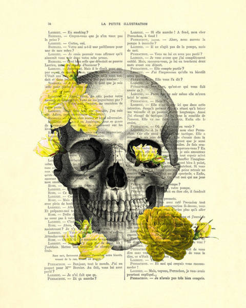 Rose Flower Digital Art - Skull With Yellow Roses Dictionary Art Print by Madame Memento