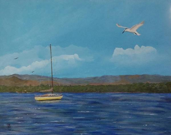 Painting - Yellow Sailboat by Tony Rodriguez