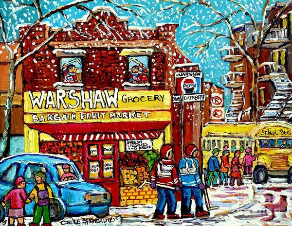 Painting - Yellow School Bus Painting Warshaw Fruit Market Rue Cuthbert Montreal Memoriessnowy Day Canadian Art by Carole Spandau