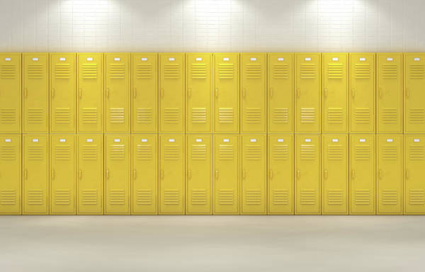 Wall Art - Digital Art - Yellow School Lockers by Allan Swart