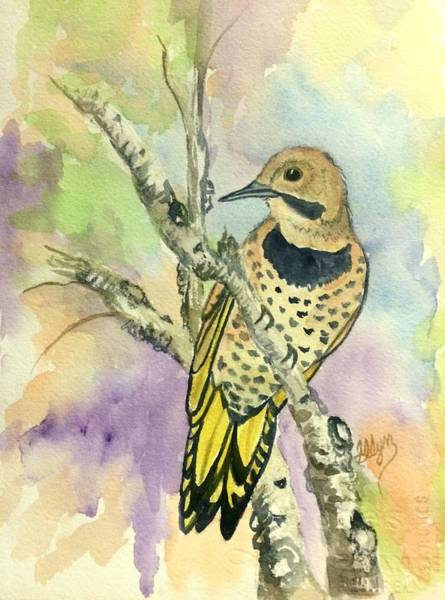 Northern Flicker Painting - Yellow Shafted Northern Flicker  by Ellen Levinson