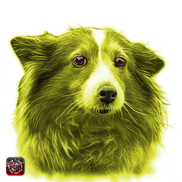 Mixed Media - Yellow Shetland Sheepdog Dog Art 9973 - Wb by James Ahn