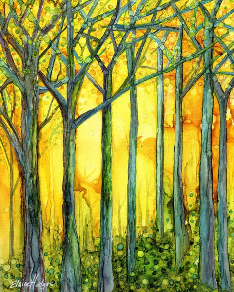 Wall Art - Painting - Yellow Sky Forest by Elaine Hodges