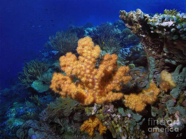Reef Diving Digital Art - Yellow Soft Coral by Sergey Lukashin
