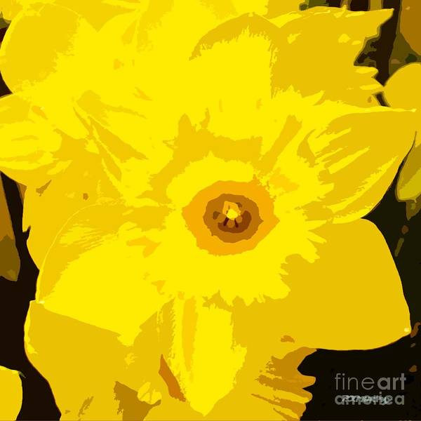 Floral Shower Curtain Painting - Yellow Star by Patrick J Murphy