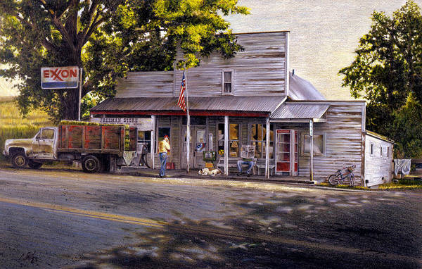 Gas Station Drawing - Yellow Sweater Freeman Store by Craig Shillam