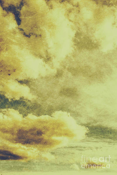 Grunge Photograph - Yellow Toned Textured Grungy Cloudscape by Jorgo Photography - Wall Art Gallery