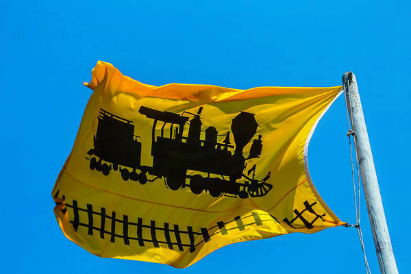 Gay Flag Photograph - Yellow Train Flag by Garry Gay