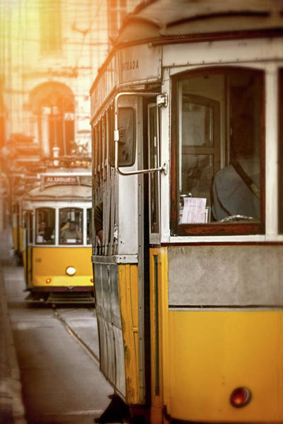 Wall Art - Photograph - Yellow Trams Of Lisbon Portugal  by Carol Japp