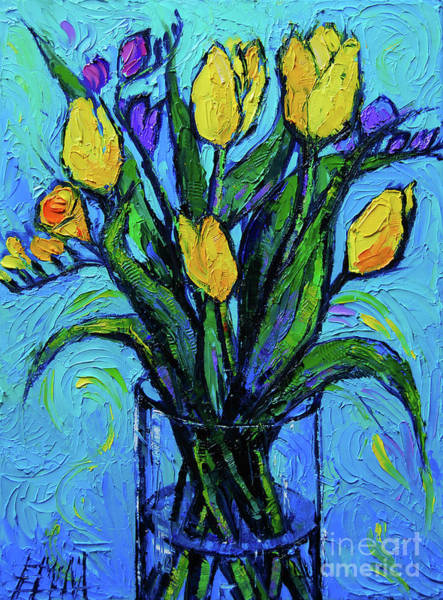 Shadow And Light Painting - Yellow Tulips And Freesia by Mona Edulesco