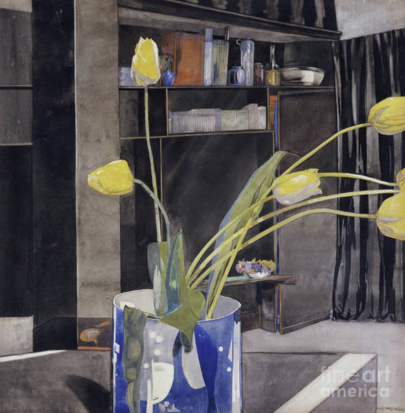 Tulip Bloom Painting - Yellow Tulips By Charles Rennie Mackintosh by Charles Rennie Mackintosh