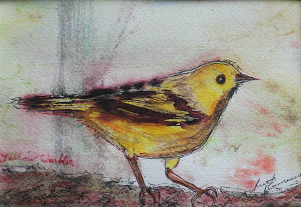 Painting - Yellow Warbler by Ruth Kamenev