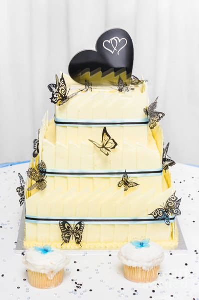 Wedding Reception Photograph - Yellow Wedding Cake Made Of White Chocolate by Jorgo Photography - Wall Art Gallery