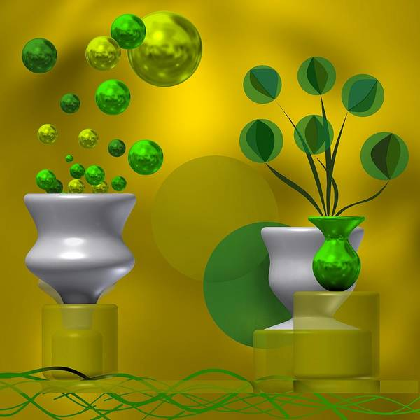 Digital Art - Yellowisg Background In Still Life With Abstract Flowers by Alberto RuiZ