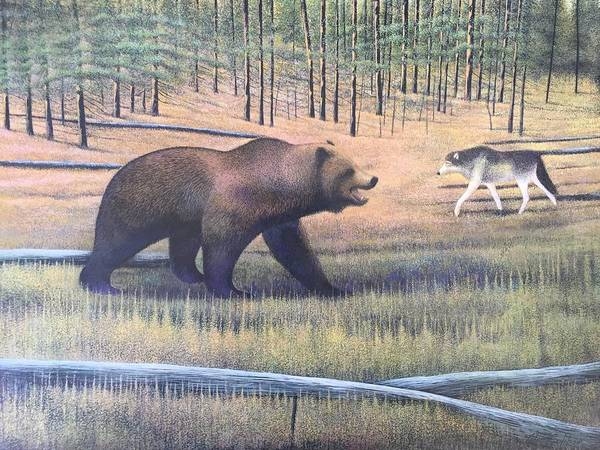 Grizzlies Mixed Media - Yellowstone by Alan Suliber