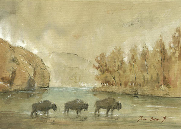 Yellowstone Wall Art - Painting - Yellowstone And Bisons by Juan Bosco