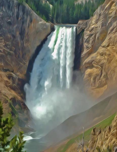 Mixed Media - Yellowstone Falls A Stylized Landscape By Frank Lee Hawkins by Frank Lee Hawkins Eastern Sierra Gallery