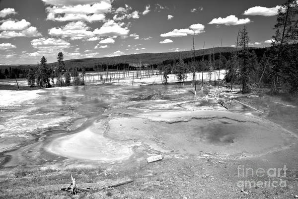 Yellowstone Caldera Photograph - Yellowstone Firehole Spring Black And White by Adam Jewell