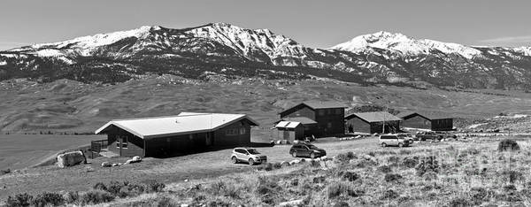 Photograph - Yellowstone Forever Overlook Field Campus Panorama Black And White by Adam Jewell